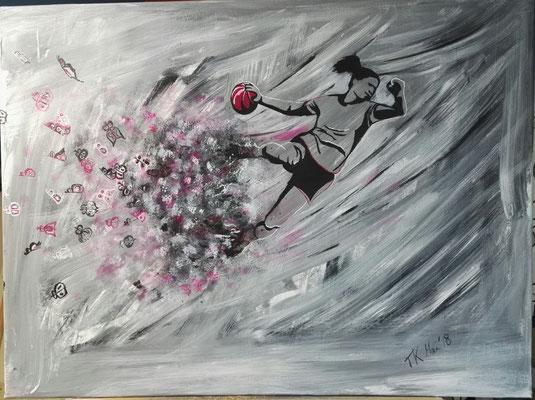 Handballerin, Acryl, 60x80 cm, Mai 2018 (Auftragsarbeit)