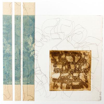 30 x 30 cm, gravure et collage sur support bois