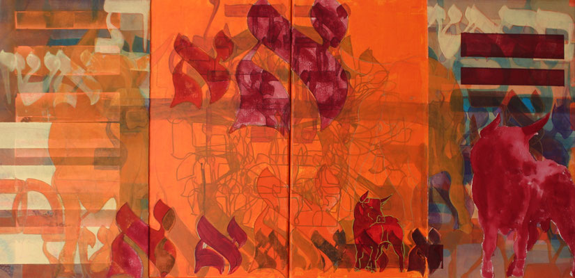 diptyque 50 x 100 cm   acrylique mixte sur toile   2019   fr 1'800