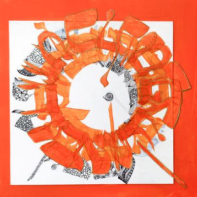 30 x 30 cm, crayon, feutres et acrylique sur papier sur support bois | fr 888.-