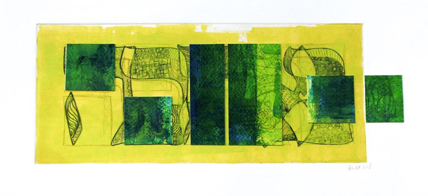 gravure et acrylique, 23 x 50 cm, 2018
