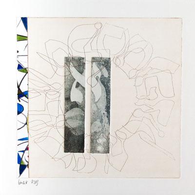 30 x 30 cm, gravure et collage sur support bois | fr 888.-