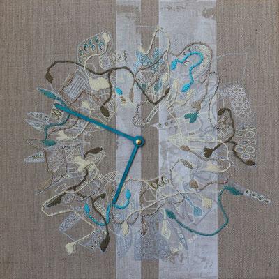Broderie et dessin sur toile en lin naturel, 2021   fr 1610