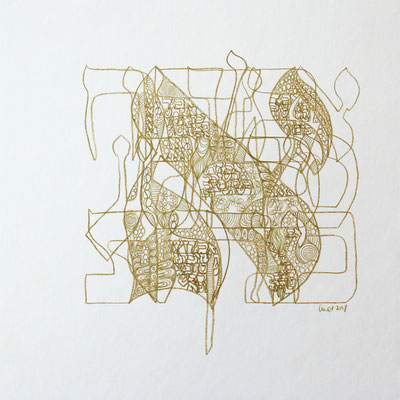 30 x 30 cm, crayon sur papier sur support bois