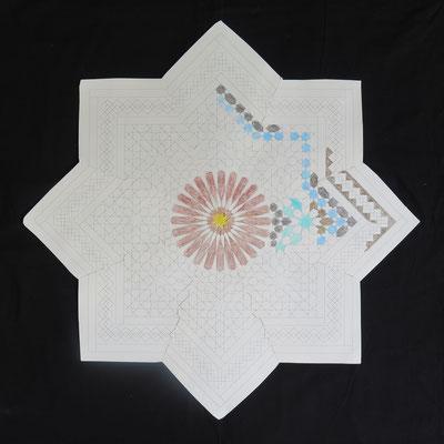 Grote ster uit Fes (60x60cm), samengesteld uit acht kleurplaten