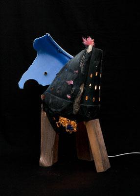 Zwarte Ibis ontmoet blauw olifantje (staand) 70x50x40cm) 395,-