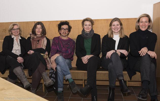 Elisabeth Lumme, Julia Draganovic, Icaro Zorbar, Marianne Wagner & Clara Napp (Team der Skulptur Projekte Münster 2017) und Christel Schulte