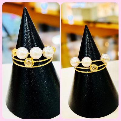 ④K18パール・ダイヤリング 適応サイズ #9~#16 販売価格:¥48,000(税込)  *写真の様にパール位置はスライド可能です。
