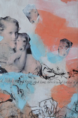 Erste Liebe - First Love 20 x 30 x 3 cm / 7.9 x 11.8 x 1.2 in - mixed media and paper collage on wood