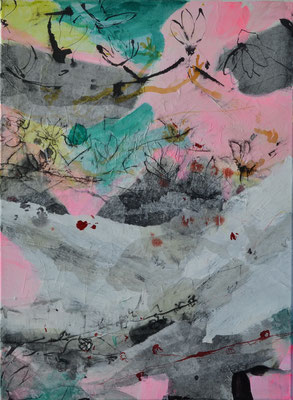 A few random thoughts on a sunny afternoon -  50 x 70 x 2 cm / 19.7 x 27.6 x 0.78 in - acrylic, ink and paper collage on canvas