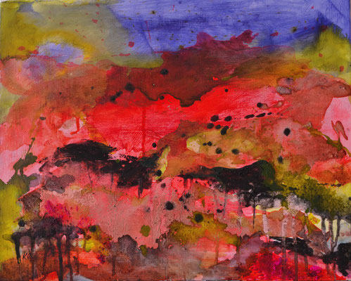 Maremma 40 x 50 x 1,5 cm/15.7 x 19.7 x 0.6 in - ink/ashes on canvas