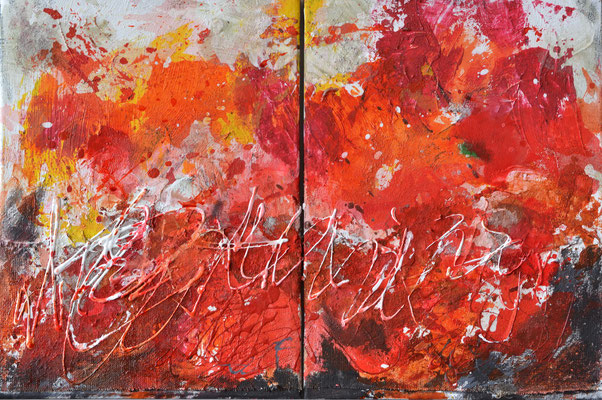 Strawberry Fields (diptych) 30 x 80 cm ink/acrylic/ashes on 2 canvases - sold/verkauft England