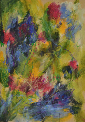 Sunny Meadow 29,5 x 20,5 cm/11.6 x 8.1 in acryl on paper incl. Passepartout/mat 30 x 40 cm/11.8 x 15.7 in