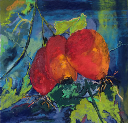 Dog Rose 39 x 39 cm Pastel and Oil on paper - sold/verkauft