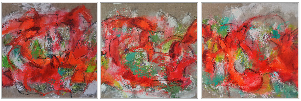 Red Triptych 40 x 120 x 1.5 cm / 15.7 x 47.24 x 0.6 in - mixed media on self-stretched canvas - sold/verkauft England