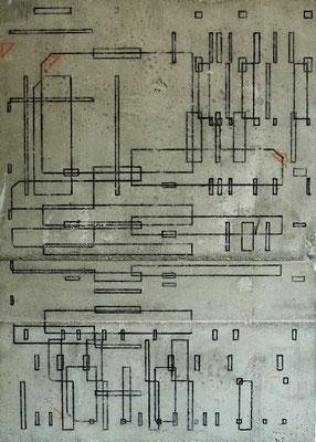 Zeichnung II - Marker auf Beton - 70 x 50 x 5 cm - 2014