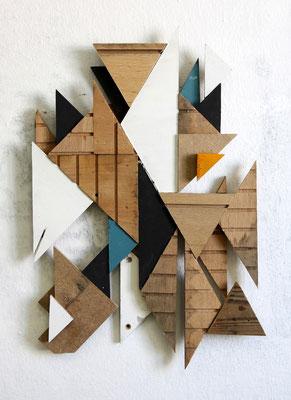 RMXS 01 - Fundholz Assemblage, Sprühlack - 41 x 27 x 3 cm - 2015