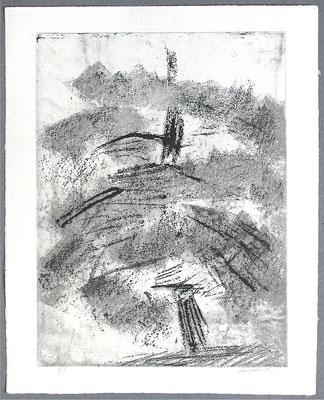 Baum 6 - Radierung, 2008, versch. Techniken ca 32x25 auf 47x37 cm, Auflage 17