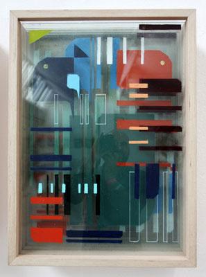 Analytische Kompostion A2 - Sprühlack auf Glas in Holzkasten - 75 x 55 x 30 cm - 2014