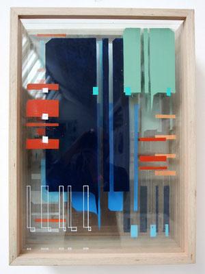 Analytische Kompostion B1  - Sprühlack auf Glas in Holzkasten - 75 x 55 x 30 cm - 2014