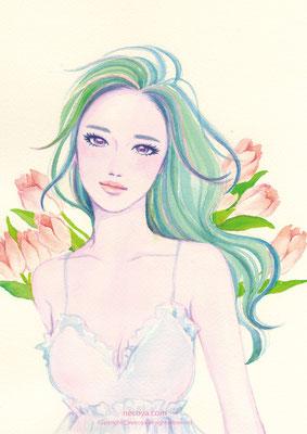 """Aphrodite :ピンクのチューリップ「愛の芽生え」""""その揺れはしなやかさの証"""""""