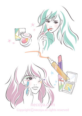 女性イラスト original:「spring make up!」