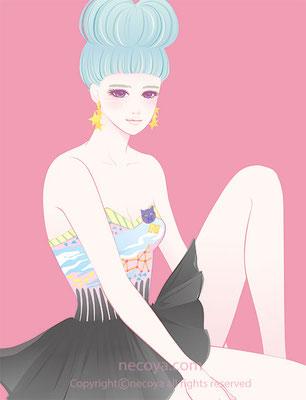 女性イラスト original:「マナミ Manami」age 25  She has cool bangs.