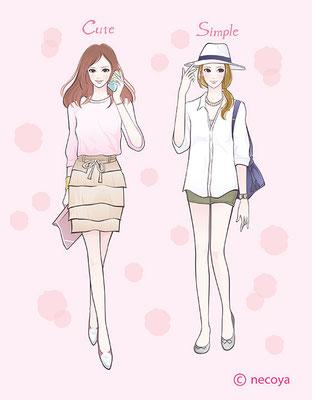 女性イラストoriginal : 「cute&simple fashion」