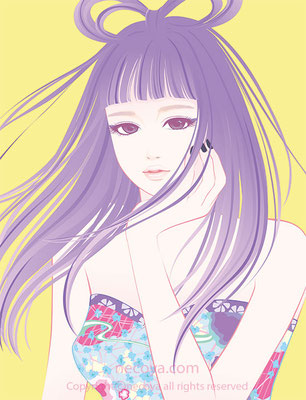 女性イラスト original:「アイルーンAirun」age 23  She likes mode fashion.