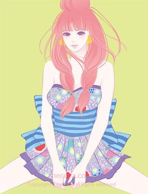 女性イラスト original:「小紫 Komurasaki」age 17  She has a small devil-like allure  and a pure eyes.