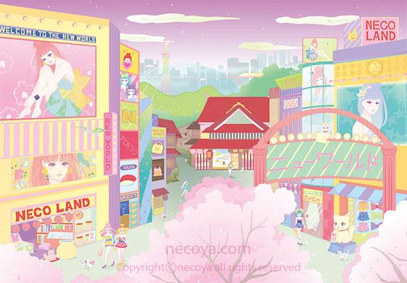 """女性イラスト original:「ニューワールド New World」Cute girls live in a new world. A store as """"necoya"""" is in it."""