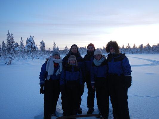 Dick eingepackt bei der Huskytour in Kiruna