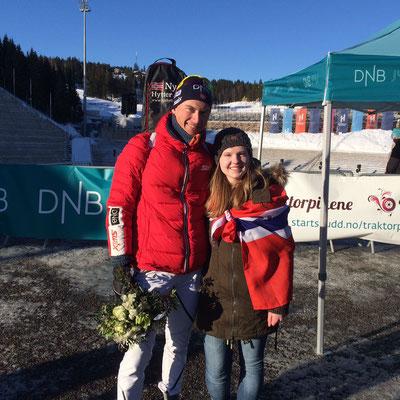 Tabea mit einem ihrer Ski-Idole