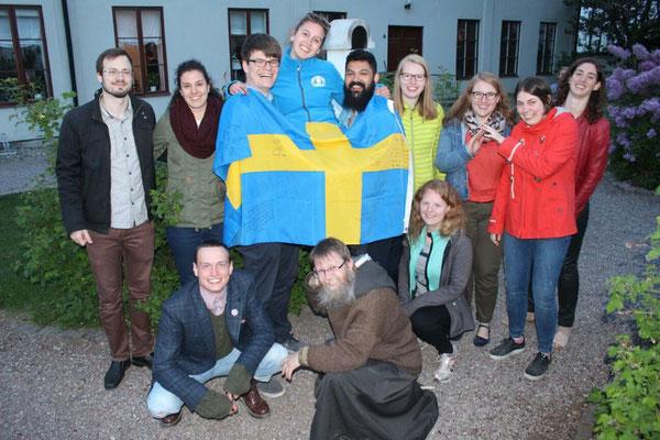 Abschiedsfeier von Raphaela Polk mit allen Mitpraktikanten, Priesteramtskandidaten und Freunden aus Uppsala