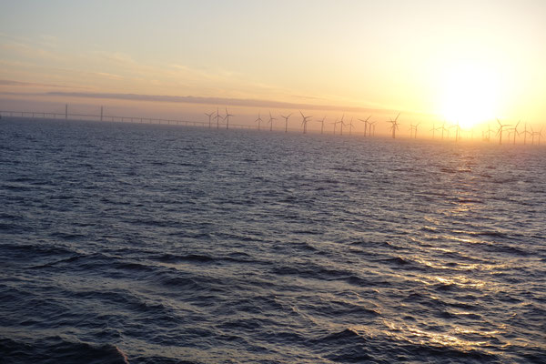 Sonnenaufgang an der Öresundbrücke