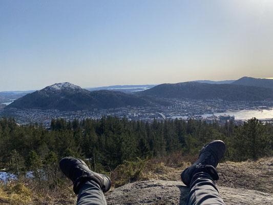 Ausblick von Tims Lieblingsplatz in Bergen