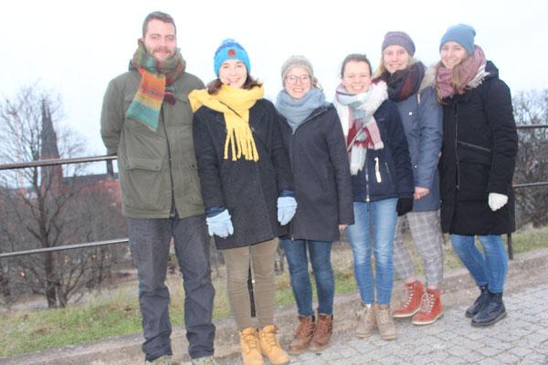 Besuch in Uppsala - Leo, Madeleine, Sofia, Pauline, Emelie und Anna Maria (v.l.)