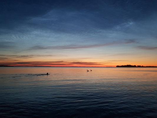 Mitternächtliches Schwimmen im Vättern