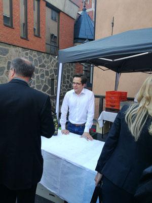 Marius Retka beim Empfang nach der Dankmesse in Stockholm am 15.August