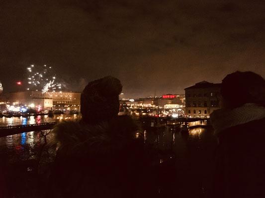 Silvesterfeuerwerk über Stockholm