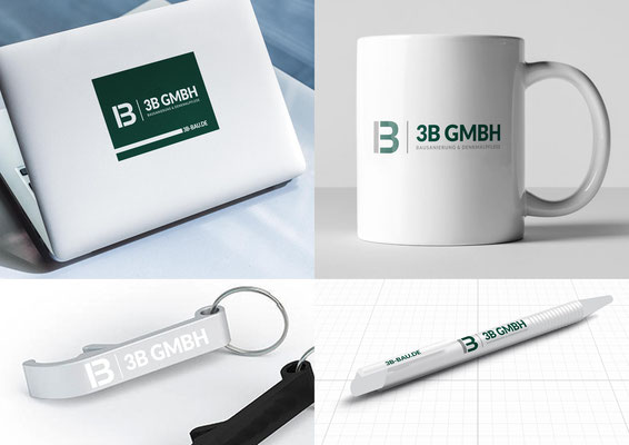 Erstellung von Notebook-Aufklebern, bedruckten Kaffeetassen, Flaschenöffnern und Kugelschreibern für die 3B GmbH