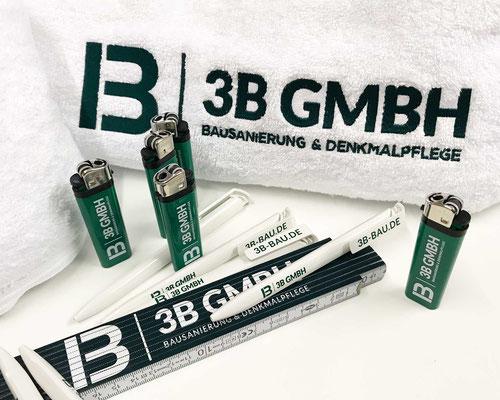 Erstellung von bestickten Handtüchern, bedruckten Feuerzeugen, Kugelschreibern und Zollstöcken für die 3B GmbH