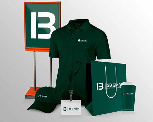 Erstellung von bedruckten Schildern, Einkaufstüten, Kaffeebechern, Plastikkarten und bestickten Polo-T-Shirts und Caps für die 3B GmbH