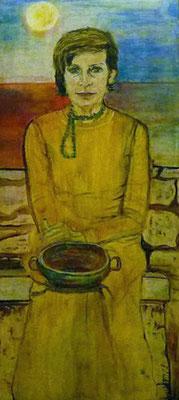 Frau mit leerer Schale