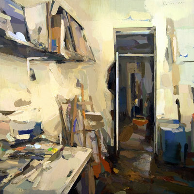 'Interior #148' Oil on wood,  60 x 60 cm. *SOLD*