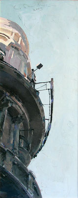 'Cornisa en Gran Via' Oil on wood, 50 x 22 cm. *SOLD*