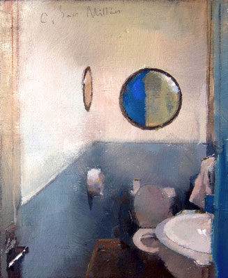 'Bathroom' Oil on wood, 19 x 15 cm. *SOLD*