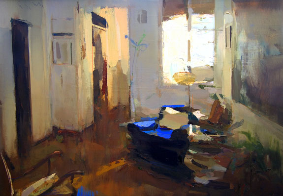 'Interior #127' Oil on wood,  45 x 65 cm. *SOLD*
