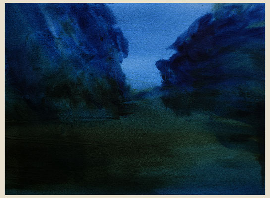'Nocturne garden #1' Oil on Arches paper, 31 x 23 cm. Available on New Blood Art