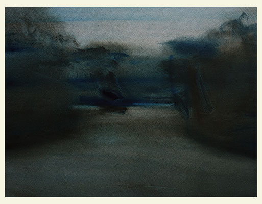 'Nocturne garden #5' Oil on Arches paper, 31 x 41 cm. Available on Meyer Vogl Gallery